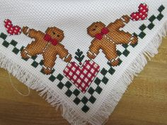 Cross Stitch Bread Cover / Bread Cloth Gingerbread by Kitkateden, $15.00
