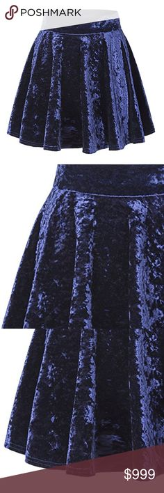 ⬇️ вoυтιqυe || crυѕнed velveт ѕĸιrт BOUTIQUE * skirt * blue (see more available colors in my closet) * flowy skater style * stretchy elastic banded waist * high quality soft luxe crushed velvet fabric * 95% polyester / 5% spandex * see photo above for measurements * fits true to size - tts * brand new - flawless  * Winter * Spring * Staple * Trend * Luxe * Holiday  * Party * Date * Cocktail * Flirty * Pretty * Formal  * Flare * Comfortable * A Line * Small * Medium  * Large * X-Large…