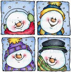 Snowman Quartet - Snowmen Images - Snowmen - Rubber Stamps