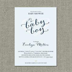 "Printable Blue Baby Shower Invitation Card   ""It's a Baby Boy"" Heart Design   Customize   DIY - No. BBS1-1"