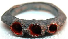 sterling silver ring, blackened, cold enamel by Lezerman, via Flickr