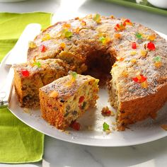 Coconut Fruitcake Recipe -A neighbor gave me this recipe when we first moved to this small town, saying it dated back to the 1800s and everybody in the area made it. I soon discovered why when I took a taste...and I'm not a fruitcake fan! —Lorraine Groh, Ferryville, Wisconsin Food Cakes, Cupcake Cakes, Fruit Cakes, Cupcakes, Carrot Cakes, Christmas Desserts Easy, Christmas Baking, Merry Christmas, Christmas Cakes