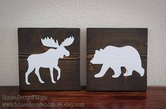 Set of 2 Moose and Bear Wooden Signs/Woodland Nursery