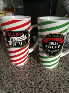 Christmas Mugs --- baby it's cold out side--- have a holly jolly Christmas