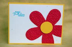 Happy Birthday Wishes Die Cut Embossed Flower Card by ScrapGirl911