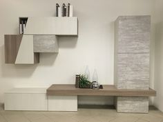 Soggiorno mod. Time cemento Living Room Wall Units, Living Room Tv Unit Designs, Decor Home Living Room, Living Room Interior, Tv Unit Decor, Tv Wall Decor, Tv Unit Furniture, Home Decor Furniture, Modern Tv Wall Units