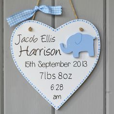 Newborn baby birth plaque, personalised baby boy elephant sign with childs name.