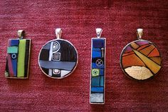 bright colored mosaic pendants