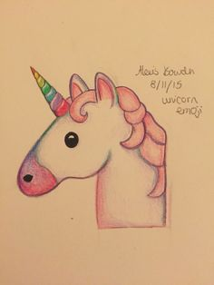 drawing of the unicorn emoji in coloured pencil Emoji Drawings, 3d Drawings, Disney Drawings, Animal Drawings, Drawing Sketches, Doodle Art, Unicorn Drawing, How To Draw Unicorn, Beautiful Drawings