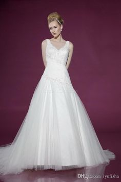 Wholesale A-Line Wedding Dresses - Buy 2015 Fashionable A-Line Birdal Party Dresses Tulle Sleevless V-Neck Pleats Ruched And Exquisite Beads Applique Court Train Backless Gowns, $141.58 | DHgate.com