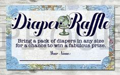 This listing is for a Diaper Raffle printable.  You get the single diaper raffle PDF file (always best for printing!!!) AND JPEG with your