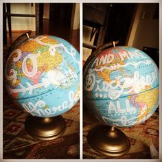 Globe painting idea as a constant reminder of our call to spread the gospel to the nations. Road Trip Theme, Kindergarten Graduation, Globe, Crafts, Painting, Speech Balloon, Manualidades, Painting Art, Paintings