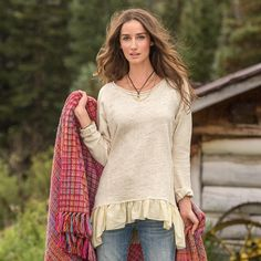 """POET'S HEART PULLOVER--Raw-edge seams pair with a graceful, diaphanous hem in an ode to following your heart wherever it leads. Reverse French terry accents and hi-lo hem. Cotton/polyester. Machine wash. Imported. Exclusive. Sizes XS (2), S (4 to 6), M (8 to 10), L (12 to 14), XL (16). Front approx. 25""""L."""