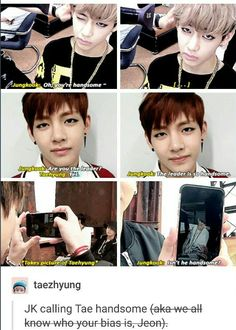 Jungkook adores Taehyung and calls him handsome all the time like the #1 Taehyung stan he is.