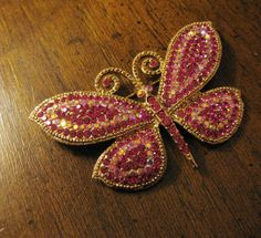 Vintage butterfly brooch.  Pink with pave by pnpvintagegeneral, $69.00