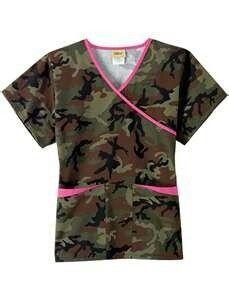 Ladies camo/pink scrubs top
