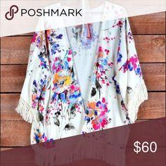 Floral fringe kimono Only worn a few times Tops