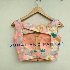 Ready To Wear Navy Blue & Peach Saree - – Sonal & Pankaj Indian Blouse Designs, Choli Designs, Saree Blouse Neck Designs, Stylish Blouse Design, Fancy Blouse Designs, Saree Blouse Patterns, Skirt Blouse Design, Traditional Blouse Designs, Peach Saree