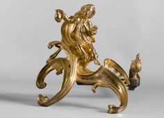 """""""Two children having coffee"""", Pair of gilt bronze andirons after a model by Jacques Caffieri (Reference - Available at Gallery Marc Maison Italian Sculptors, Architectural Antiques, Second Child, French Antiques, Lion Sculpture, Bronze, Fire, Statue, Paris"""