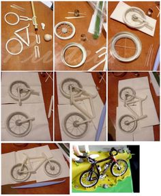Pap bicicleta air dry clay, cake tutorial, gum paste, photo tutorial, bicycl, cake decor, polymer clay, photo collages, fondant tutorial