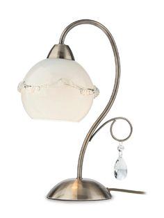 VERA Redo - stolová lampa rustik - mosadz+sklo+krištáľ