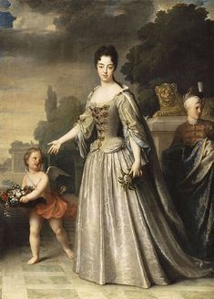Marie Adélaïde of Savoy, Versailles. The Duchess of Burgundy gave birth to her first child in 1704.The child,a short-lived boy,was given the title Duke of Brittany before his death in 1705.Marie Adélaïde bore two more children in 1707 and 1710.Her youngest son,the only child to survive beyond childhood, later became King Louis XV of France.Jean-Baptiste Santerre.1709.