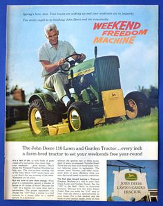 John Deere 110 Lawn and Garden Tractor Vintage Magazine Print 1966 Ad - riding mower