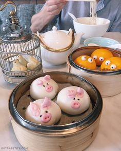 cute critter dim sum at Yum Cha restaurant in Hong Kong