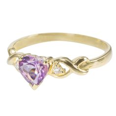 9ct Yellow Gold Amethyst Heart and CZ Twist Ring only $120 - purejewels.com.au