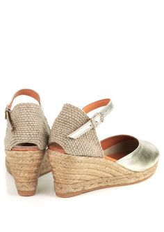 Toni Pons Costa platinum leather wedge espadrilles with ankle strap and  jute rope platform base and