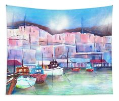 Greek Island Paros Naoussa Harbor Tapestry x by Sabina Von Arx. Our premium tapestries are available in three different sizes and feature incredible artwork on the top surface. Coastal Bathroom Decor, Relaxing Holidays, Paros, Greek Islands, Basic Colors, Beautiful Artwork, Wonderful Places, Color Show, Wall Tapestry