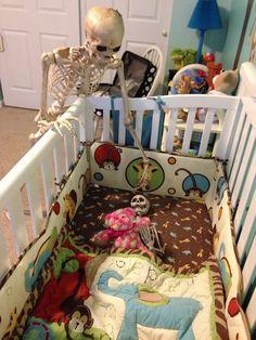 Nap time Halloween Skull, Skulls, Bones, Toddler Bed, Waiting, Fun, Baby, Furniture, Home Decor