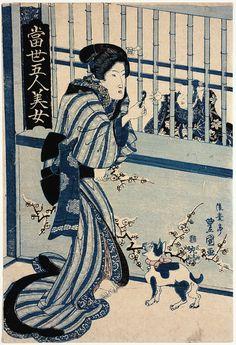 Utagawa Toyokuni (Toyokuni II) Japanese (1777-1835) Woman Offering Candy to Child ca.「歌川豊国(豊国II)、日本(1777から1835)女性募集キャンディ子供の約へ  1830印刷アマースト大学」當世五人美女二代目歌川豊国(豊重)1830年頃」