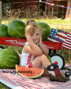 Watermelon 4th of July mini session pose.