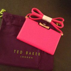 "Ted Baker Hot Pink Cross Body Details: - Detachable crossbody strap - Framed with crystal bow kiss-lock closure and foldover magnetic flap - Exterior features patent finish - Interior features wall zip pocket and 3 card slots - Dust bag included - Approx. 4.25"" H x 7"" W x 1"" D - Approx. 24"" strap drop Ted Baker Bags Crossbody Bags"