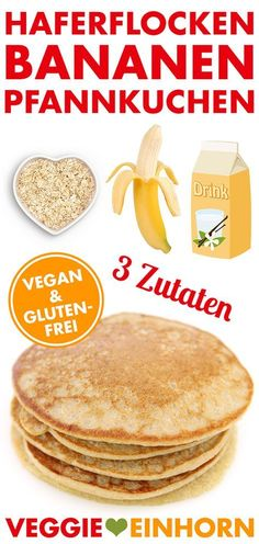 gesunde pfannkuchen nur 3 zutaten vegan glutenfrei rezept video haferflocken bananen pancakes delivers online tools that help you to stay in control of your personal information and protect your online privacy. Pancakes Végétaliens, Banana Oatmeal Pancakes, Vegan Pancakes, Banana Flour, Breakfast Pancakes, Oat Flour, Vegan Gluten Free Breakfast, Vegan Breakfast Recipes, Breakfast Healthy