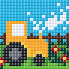 :doehetzelf #inspiratie #pixelhobby #pixelgift #pixelen #ministeck #hobby #creatief #tractor #trekker Alpha Patterns, Loom Patterns, Beading Patterns, Quilt Patterns, Knitting Patterns, Seed Bead Crafts, Graph Design, Horse Pattern, Melting Beads