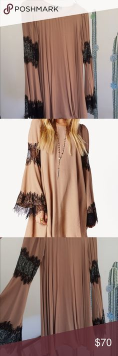 For Love and Lemons Festival Dress For Love and Lemons Festival dress in color Camel with black lace. Size small. Barely worn, mint condition! For Love and Lemons Dresses Long Sleeve