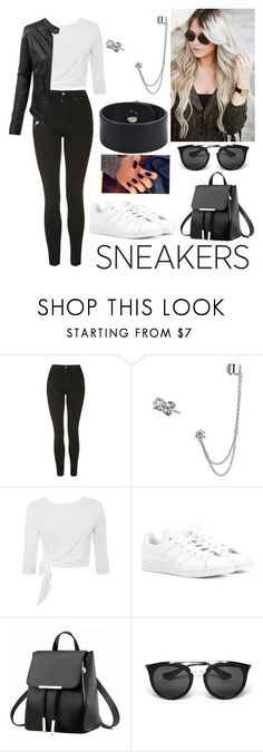 """""""Beauty in sneakers"""" by paoladouka on Polyvore featuring Topshop, Bling Jewelry, LE3NO, adidas Originals, Prada, Hermès, beautiful, blackandwhite, women and whitesneakers"""