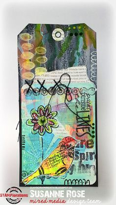 Susanne Rose - Papierkleckse: Mixed Media Tag with STAMPlorations
