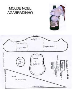 MOLDE PAPAI NOEL AGARRADINHO -- ARTESANATO COM QUIANE - Paps,Moldes,E.V.A,Feltro,Costuras,Fofuchas 3D