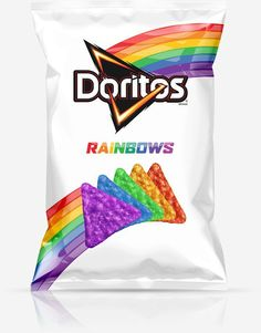 Rainbow chips?   Doritos has revealed a new limited design of their Cool  Ranch flavor chips. The design is in partnership with nonprofit It Gets Better. The design is to show the support of the LGBT LGBT community.  You cannot get these chips in store though. Click the image to see how you can get them.