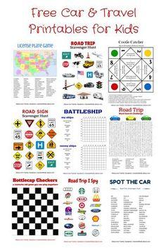 Free Car & Travel Printables: Hangman, Tic Tac Toe, Battleship, License Plate Game, Road Trip I Spy, Scavenger Hunts, Cootie Catcher, and More