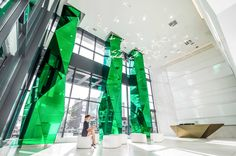 Fly Condos. Toronto, ON. The three 10 meter high (33 feet) structural concrete columns are each clad with 40 faceted glass panels. Each glass panel...