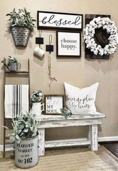 Living Room Wall Decor Ideas Not Farmhouse. Elegant Living Room Wall Decor Ideas Not Farmhouse. Rustic Farmhouse Living Room Design and Also Style Ideas for Living Room Remodel, Home Living Room, Living Room Designs, Living Room Bench, How To Decorate Living Room Walls, Living Area, Kitchen Remodel, Farmhouse Wall Decor, Farmhouse Style Decorating