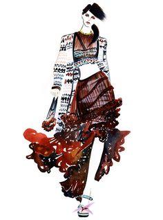 Joan Smalls for Missoni -illustration by Sunny Gu Portfolio Mode, Fashion Portfolio, Moda Fashion, Sport Fashion, Runway Fashion, Fashion Illustration Sketches, Fashion Sketches, Art Illustrations, Illustration Art