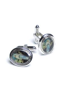 Silver-Tone CuffLinks Oval Shaped Virgin Mary Cuff Links