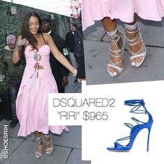 """Dsquared2 light blue """"Riri"""" strappy sandals $965, @badgalriri"""