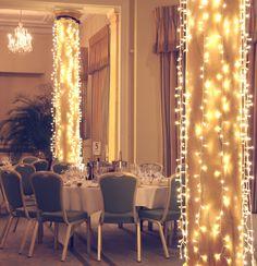 Warm white event lighting at Rudding Park Hotel, North Yorkshire, by Lights4fun #wedding #fairylights