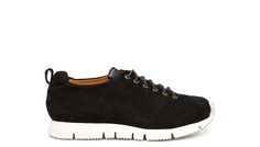 BUTTERO: BLACK SPLIT LEATHER SNEAKERS WITH VIBRAM V-LITE RUBBER SOLE (B5660UCGB1/01P)